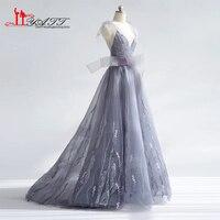 New Arrival 2017 Amazing Evening Prom Dresses V neck Dusty Grey Purple Bow Amazing Long Elegant Women Gown LIYATT