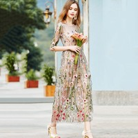 New Party Embroidery Dresses Vestidos Ruway Floral Bohemian Flower Embroidered Vintage Boho Mesh Embroidery Dresses For