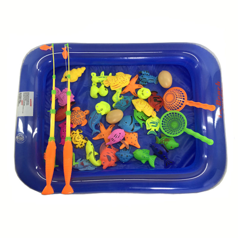 65pcs/set and Inflatable Pool Magnetic Fishing Toy Rod Net Set for Children Model Play Fishing Games Outdoor Toys Random Colour