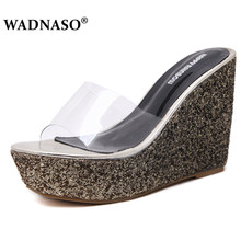 WADNASO New Woman Fashion Sequins High Heel Slippers Women Summer Shoes  Thick Platform Sandals Ladies Wedges Flip Flops