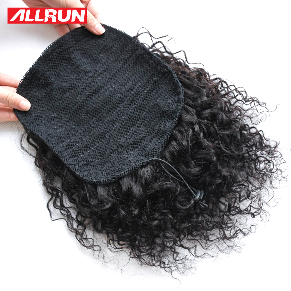 Hair Pieces Curly Chignon Afro Kinky Curly Ponytail For Women Drawstring Ponytail With Clips Allrun Peruvian Non Remy Human Hair Natural