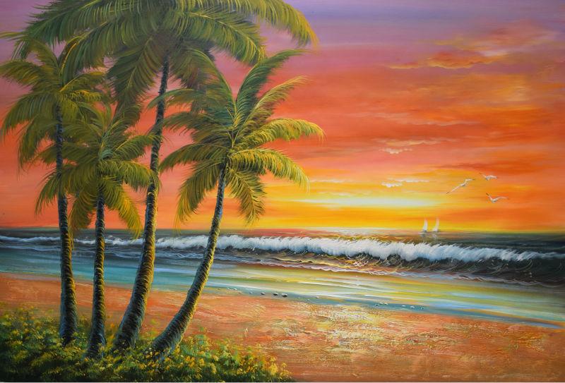 Handpainted Modern Beach Sea Wave Seascape Oil Painting On