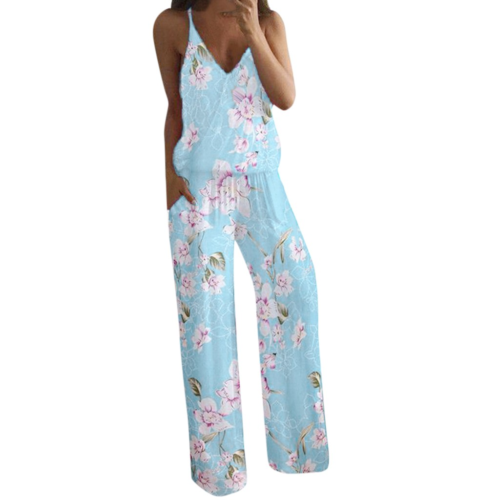 Women combinaison femme shein bodysuit women rompers Lady's Summer Sexy Flower Printed Camisole Sleeveless V Neck Jumpsuit Z4