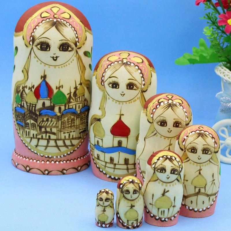Mnotht sept couleurs pagode poupées russes de haute qualité sec Basswood Matryoshka poupées en bois bricolage éducation jouets L30