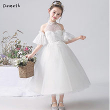 High Neck Beaded Beach Flower Gril Dresses For Wedding A Line Bell Sleeve Little Bride Dresses(China)