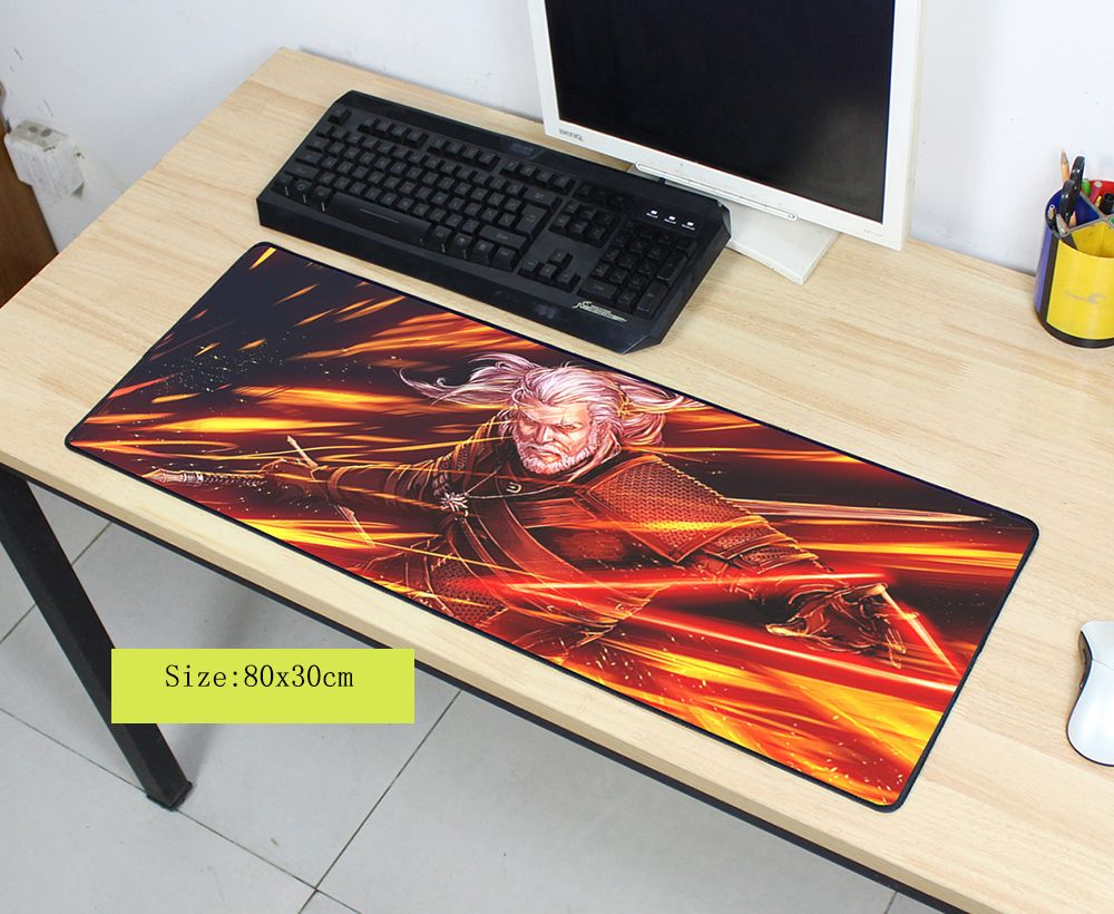 witcher mouse pad 80x30cm pad to mouse notbook computer mousepad HD pattern gaming padmouse gamer to laptop large mouse mats