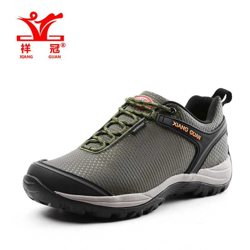 Water repellent Oxford Outdoor Shoes Men Hiking Message Breathable Waterproof Sport Shoes Green Mountain Shoes Climbing
