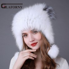 Glaforny 2018 New Style Knitted Fox Fur Hats Women Warm Fur Bomber