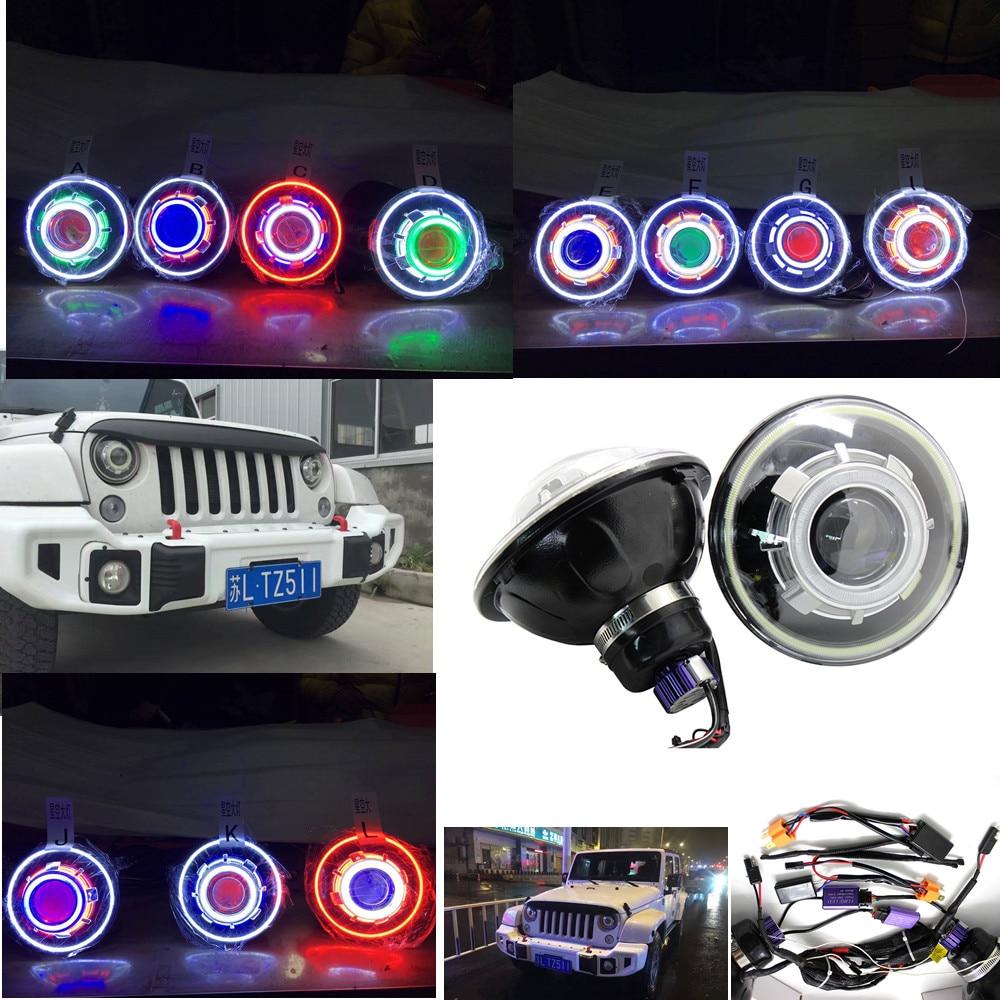 12V 24V 35W 7 Inch COB halo Led Headlight Hi/Low Beam Headlamp with demon Eyes + Canbus Ballast For Jeep Wrangler 07-16