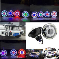 12V 24V 35W 7'' Inch COB halo Led Headlight Hi/Low Beam Headlamp with demon Eyes + Canbus Ballast For Jeep Wrangler 07 16