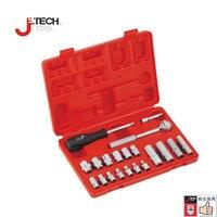 Jetech lifetime guarantee 20pcs/set 1/4 DR. metric socket wrench set machine motocycle maintenance tools with case