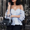 Sexy Off Shoulder Striped Blouses Tops Plaid Shirt Women 2017 Summer Strapless Camisas Femininas Short Sleeve Blusas Mujer C127