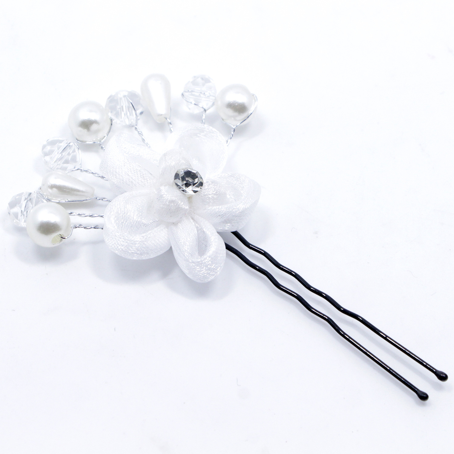 Oppohere Bridal Wedding Crystal White Pearl Flower Hair Pins Clip