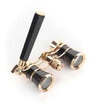 Discount! Exquisite Black Gold Binocular Telescope  3X25 Lady Gift Telescope Opera Theatre Binoculars Optical Opera Glasses DO007