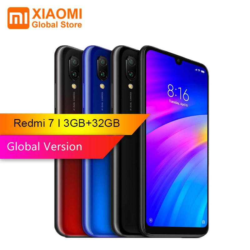 Version globale Xiaomi Redmi 7 3 GB RAM 32 GB ROM Snapdragon 632 Octa core 4G téléphone portable 6.26 pouces 12MP + 2MP double caméra arrière