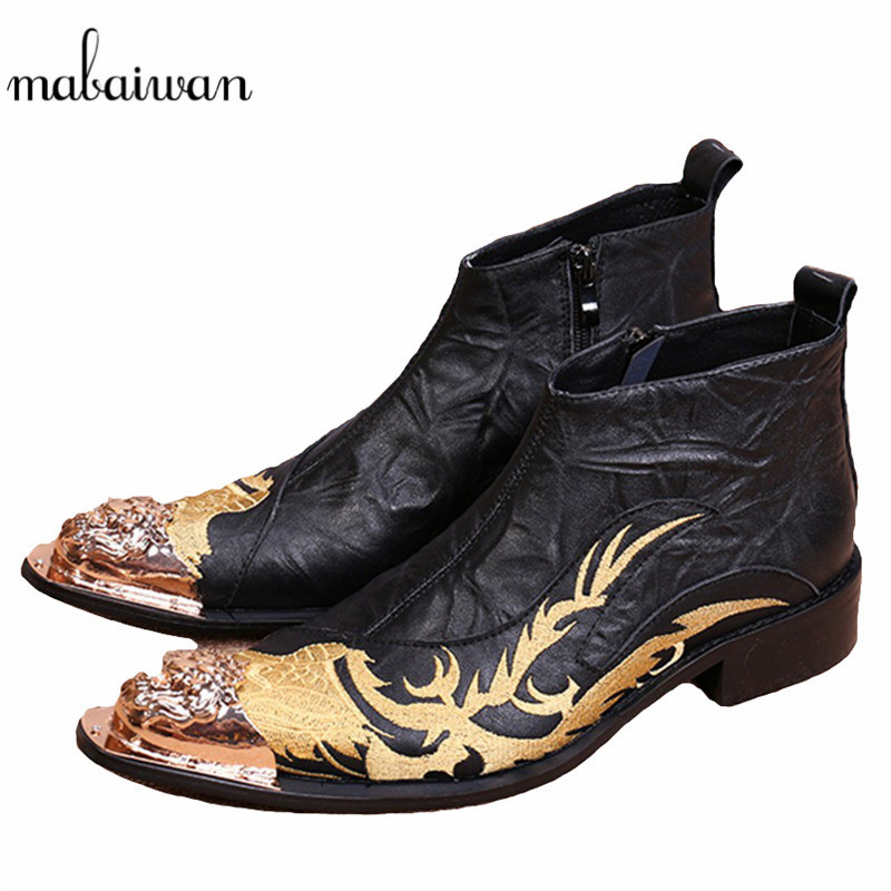 Mabaiwan Dragon Embroidery Men Genuine Leather Ankle Boots Metal Pointed Toe Cowboy Military Boots Tenis High Top Rubber Shoes