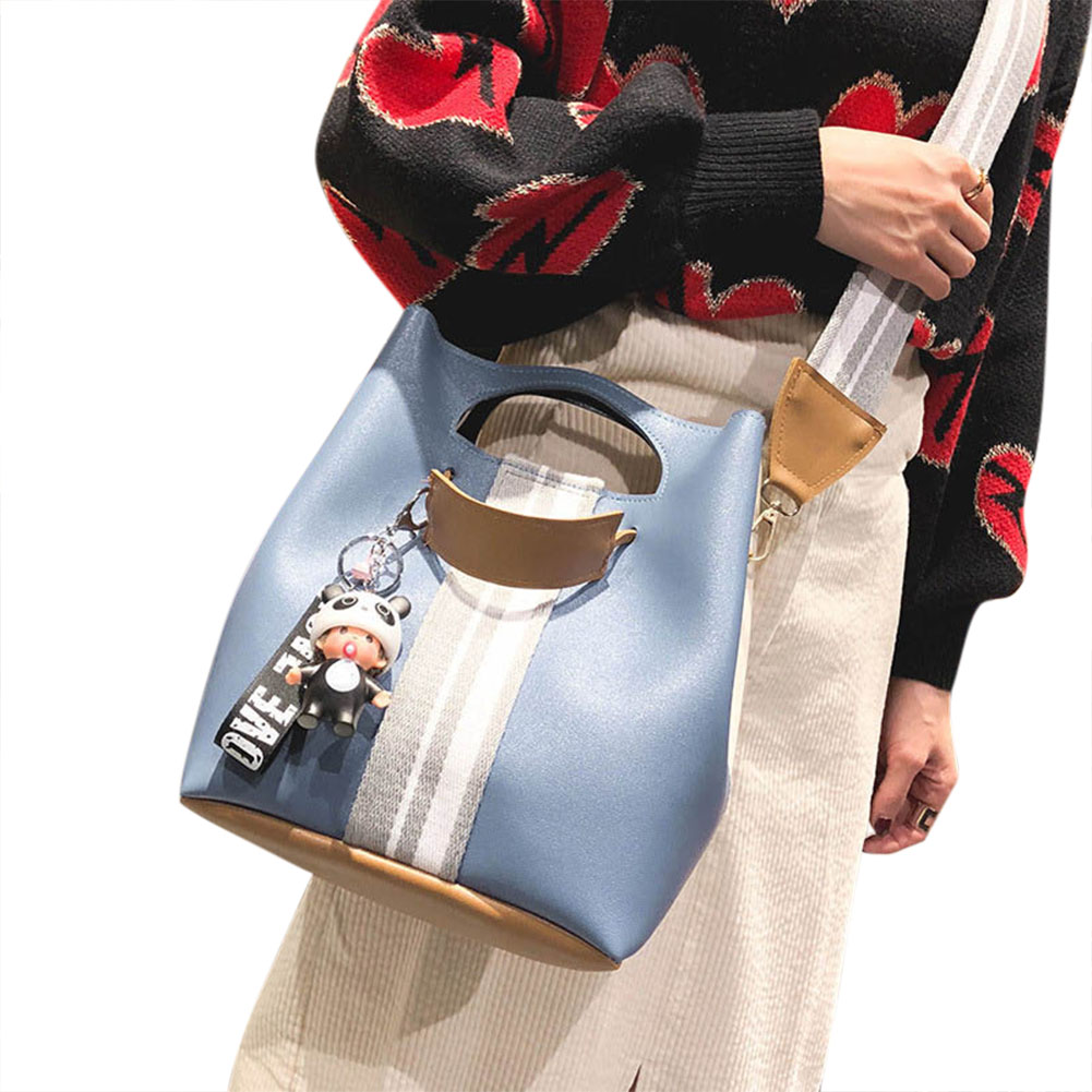 Women PU Leather Bucket Shoulder Bags with Pendant Wide Guitar Strap Handbag Messenger Bag Popular