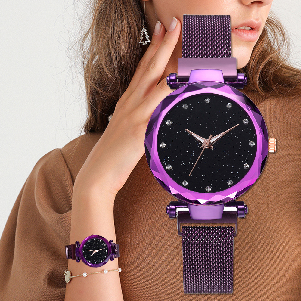 Top Marke Uhren Für Frauen Rose Gold Mesh-Magnet Schnalle Starry Quarzuhr Geometrische Oberfläche Casual Frauen Quarz Armbanduhr