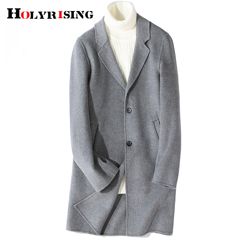 Holyrising Men Wool Coat Double-sided Cashmere Coat winter high quality long cashmere coat luxury wool Coat 18852-5