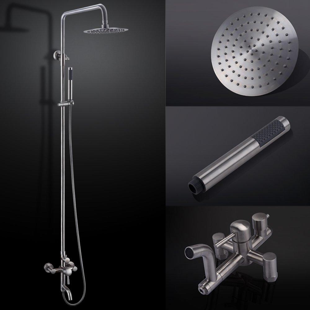КЕС X6650B настенный смеситель для ванны с круглым однофункциональным ручным душевым и металлическим рычага рукоятки рычага для душевой системы, щетка из стали - Цвет: Brushed