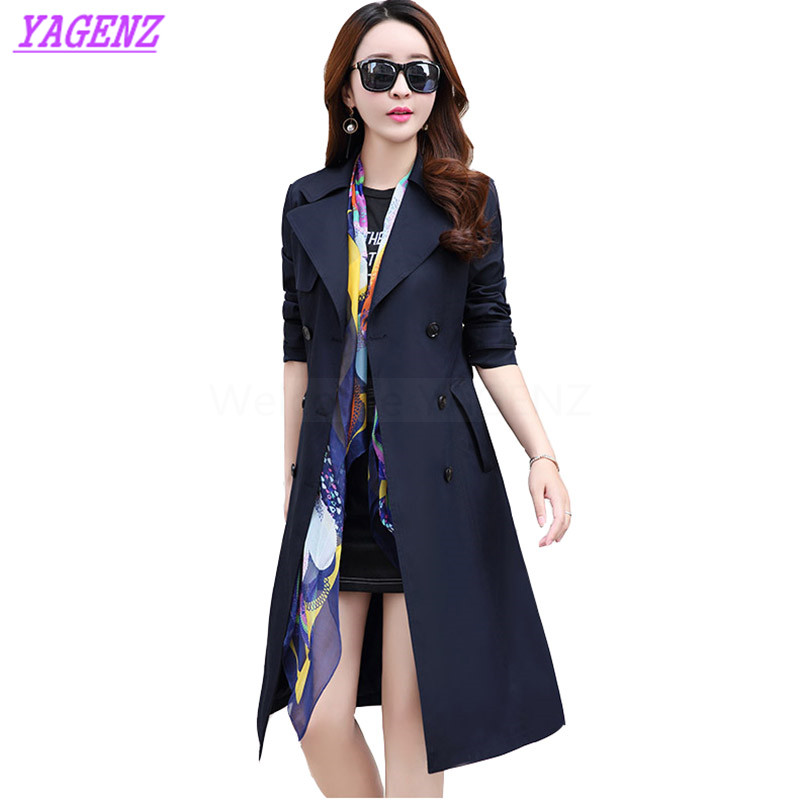 Plus size M-3XL Spring Autumn Windbreaker Coat Women Fashion Long Elegant   Trench   coat Young Women Double breasted Overcoat B306