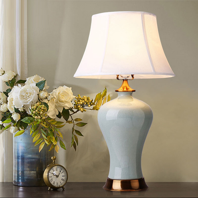Creative New Chinese Style Ceramic Table Lamp, Bedroom Bedside Lamp, Chinese Club Hotel, Decorative Table Lamp 1115