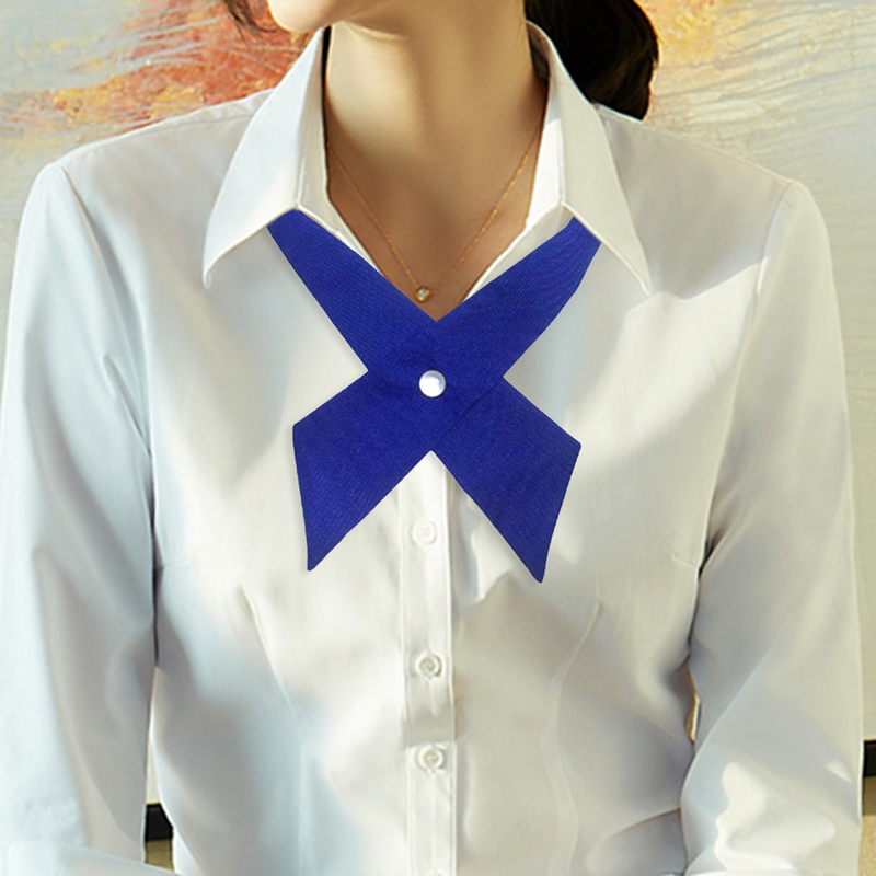 Silk Ties Uniform Bow-Tie Neck-Wear Cross-Bow Waitress Adjustable Female Girls School
