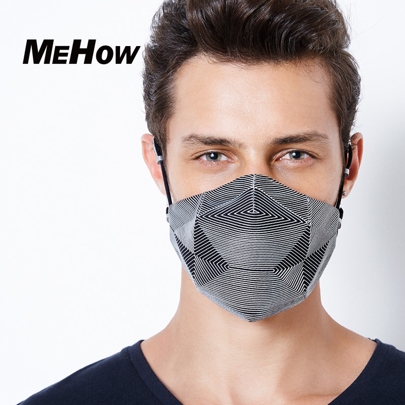 MeHow Mouth-muffle Silver Blue Streak Pattern Business Man Type PM2.5 Anti Haze Dust Nose Face Mask Korean Mouth Mask Halloween 50pcs high quality dust fog haze oversized breathing valve loop tape anti dust face surgical masks