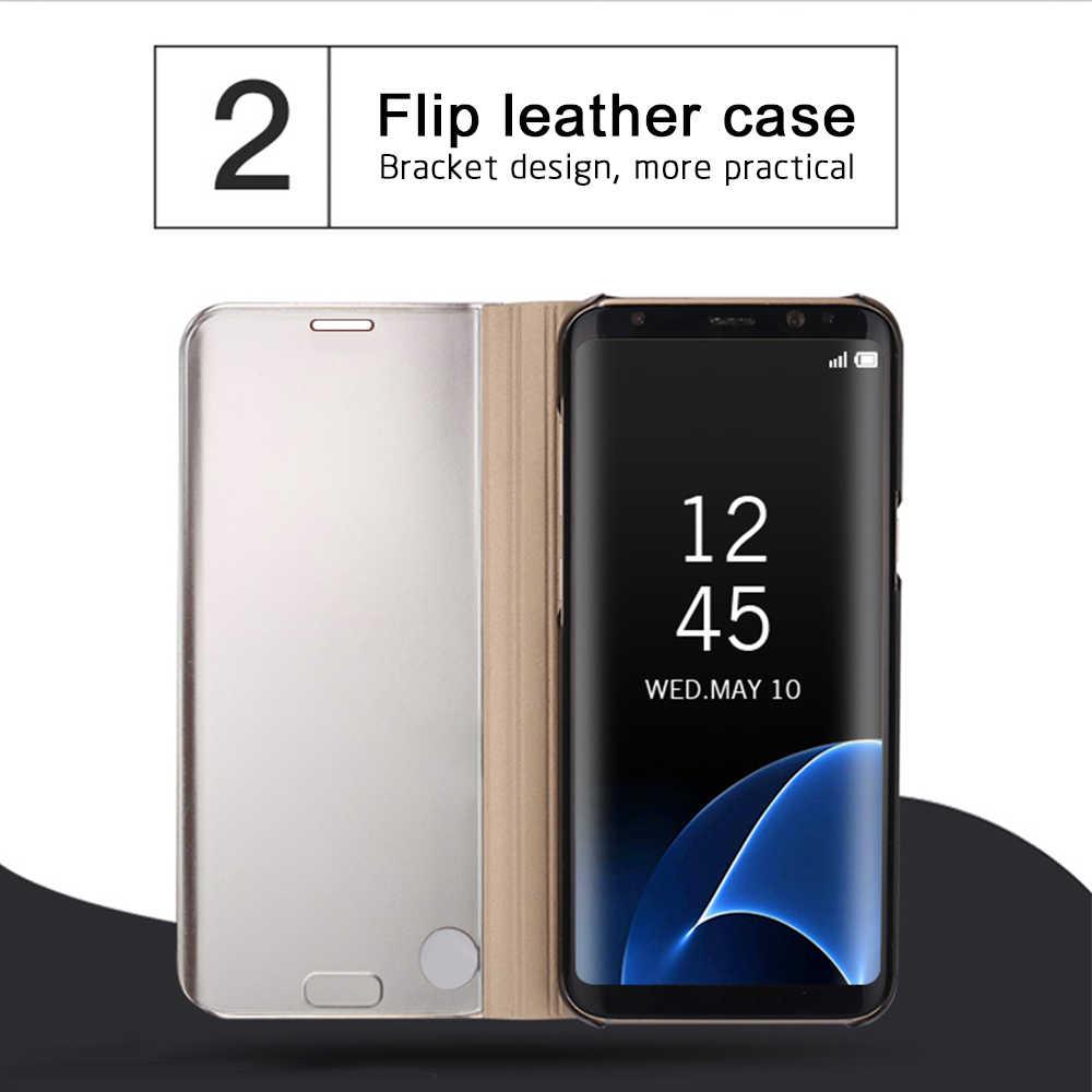 Роскошное умное зеркало прозрачный чехол для samsung Galaxy J3 J5 J7 2016 2017 J4 J6 Plus Prime 2019 J2 Core кожаный откидной чехол с подставкой
