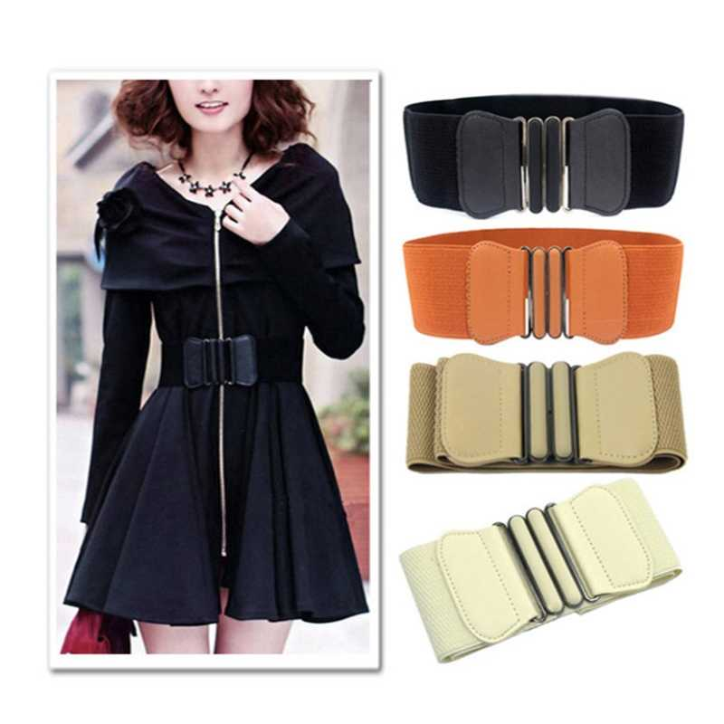 새로운 디자인 와이드 따뜻한 PU Bunds 펑크 탄성 벨트 스퀘어 버클 벨트 허리띠 여성 벨트 블랙 드레스 장식