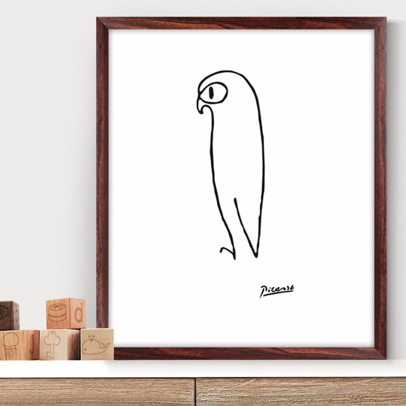 Pablo Picasso The Penguin Print Canvas Abstract Animals Minimalist Wall Art Kids Room Bar Office, Home Decor, frame included