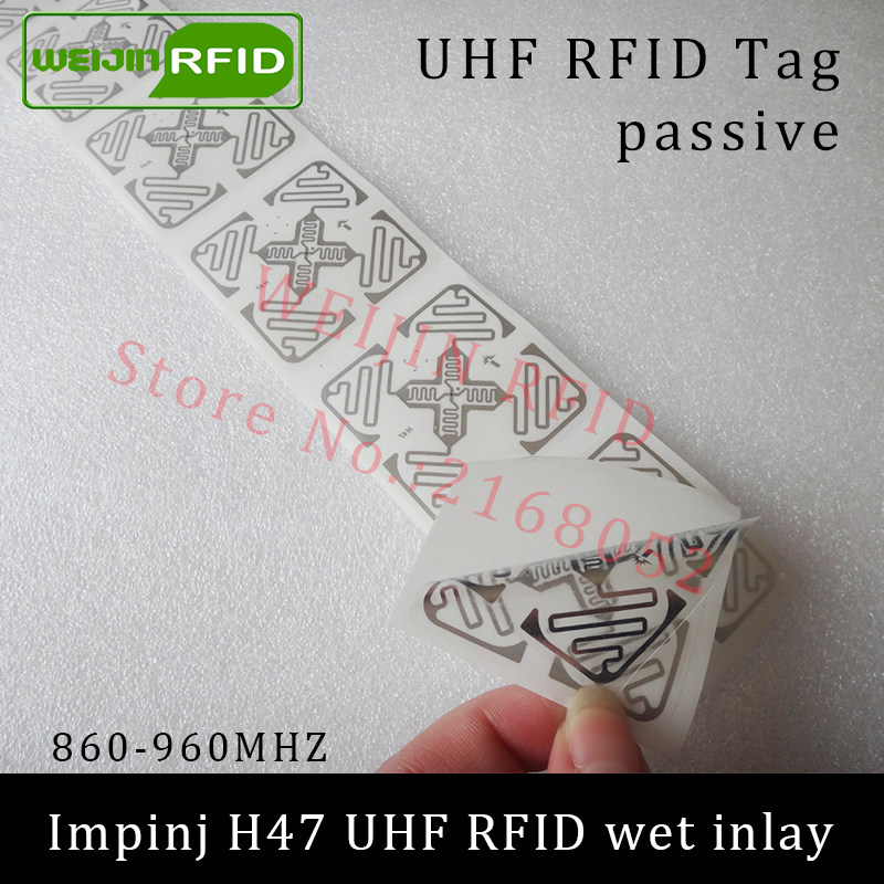 UHF RFID tag sticker Impinj H47 wet inlay 915mhz 900 868mhz 860-960MHZ  EPCC1G2 6C smart adhesive passive RFID tags label 860 960mhz long range passive rfid uhf rfid tag for logistic management