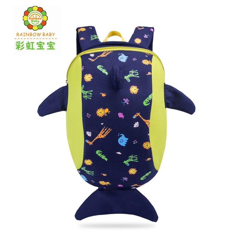 Rainbow Baby Boys Girls Cartoon Dolphin Ultra-Light Backpack Lovely Kids Kindergarten School Bookbags Anti-lost Belt Toy Bags