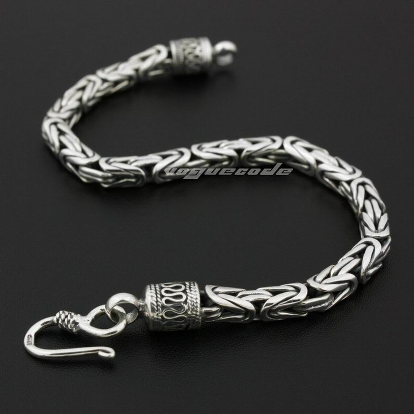 925 Sterling Silver Cube Bali Byzantine King Chain Mens
