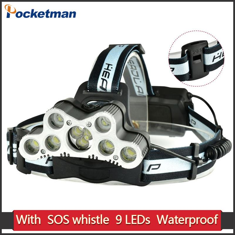 цена на Super 36000LM USB 9 LED Led Headlamp Headlight head flashlight torch XM-L T6 head lamp rechargeable 18650 battery Z20