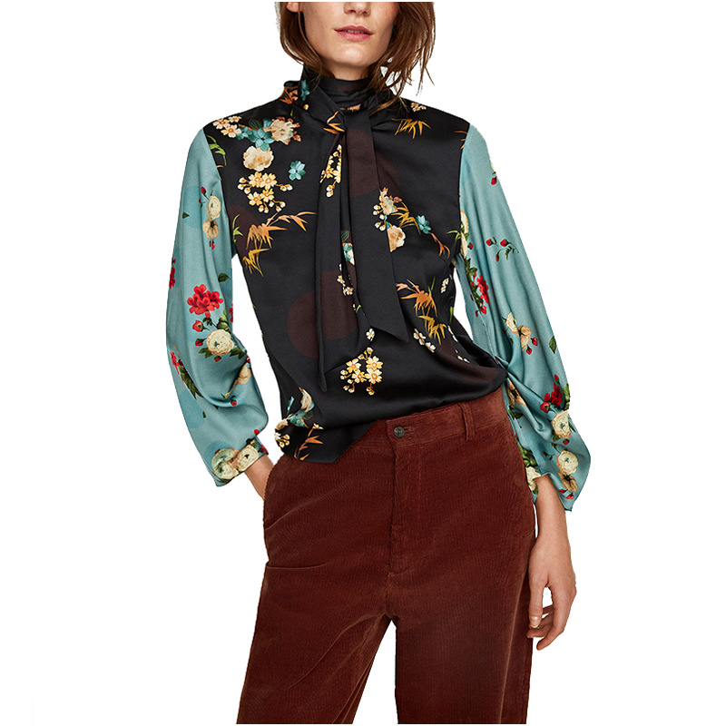 2018 Women New Autumn Green Black Floral Print Top Elegant Stand Collar Blouse Long Sleeve Casual Blouses