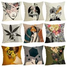 Nordic style Cushion Cover Home Decor 45Cmx45Cm linen Square Sofa Bed Car Girl print Pillow Linen cushion case
