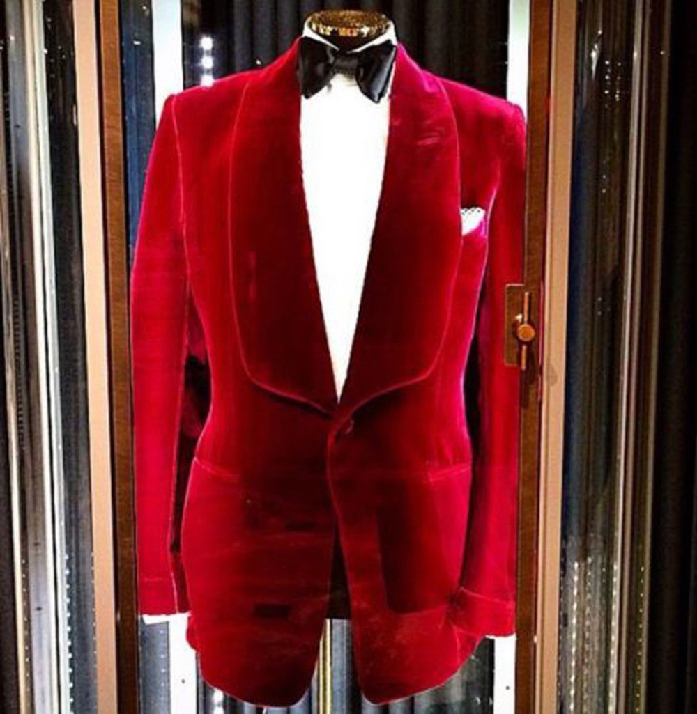 2018 men suits redjacket and black pant Mens Velvet Coat Blazer Jacket Red Designer Grooms Wedding Party Wear Casual