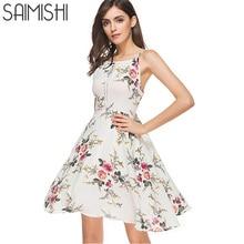 Saimishi Summer Fashion Floral Print Spaghetti Strap Dress Sleeveless Backless Cami Beach Dress Knee Length Dress