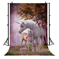 5x7ft Unicorn Fairytale Magic Forest Trees Grass Field Bokeh Polyester Photo Background Portrait Backdrop