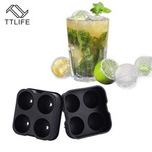 TTLIFE 4 Holes Round Flexible Silicone Ice Tray Making Mould Slow-Melting Ball Cubes Maker Mold Jelly Cookie Chocolate