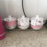 Hello Kitty Kitchen Set Cooking Tools KT Spice Jar Set Creative Salt Shaker 8.5*10cm 230ml Quality Ceramic 3pcs/set
