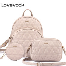 LOVEVOOK women backpack schoolbag for girls teenagers backpack female shoulder crossbody bag high quality purse for coins 3 set(China)