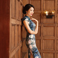 Hot Sell New Arrival Chinese Tradition Qipao Women's Silk Hand Coil Clasper Printing Long Cheong-sam S M L XL XXL