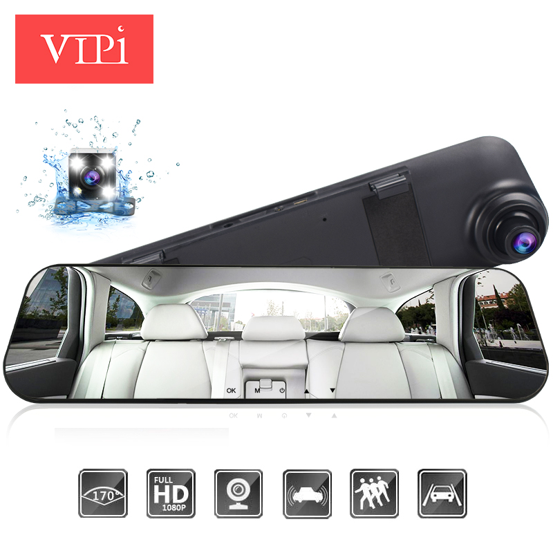 VIPI Dash Cam Mirror Car Dvr Mirror Dual Dash Camera Dual Cameras Mirror Dashcam Full HD Dashcamera In Car Video Camera Car Dvrs(China)