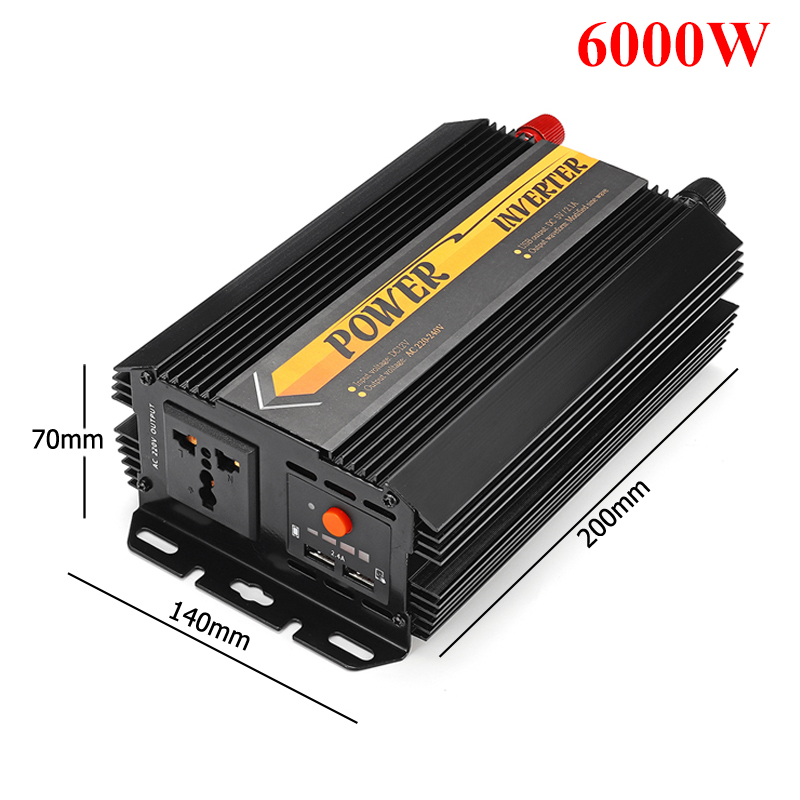 Dual USB Max 6000 Watts 3000W Power Inverter DC 12 V to AC 220 Volt Car Adapter Charge Converter Modified Sine Wave Transformer 20