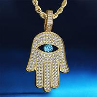 Iced Out Hamsa Hand with CZ Stone Pendant Hip Hop Necklace Jewelry for Men Women for Wholesale Agent