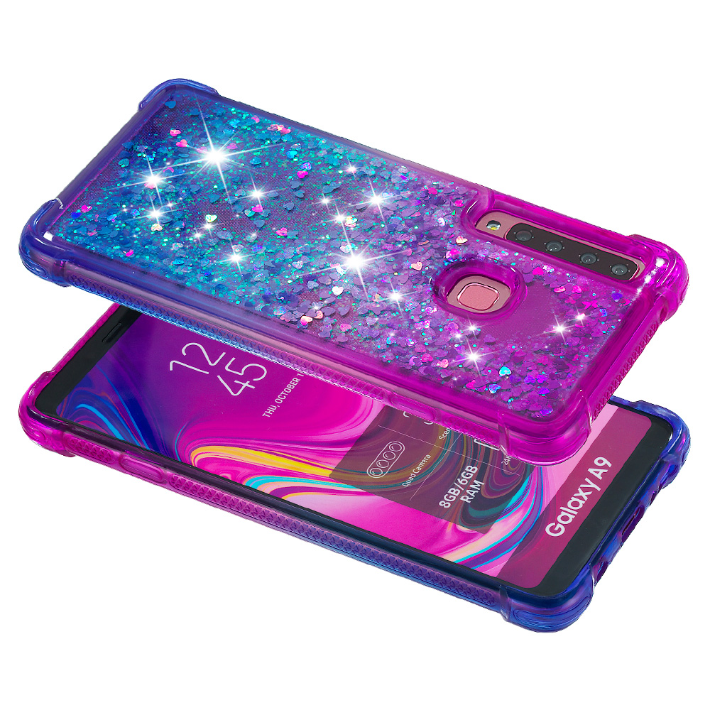 Gradient Glitter Liquid Case For Samsung Galaxy A9 2018 A920F A920 SM A920F Coque For Samsung A9 2018 Dynamic Quicksand Cover in Fitted Cases from Cellphones Telecommunications