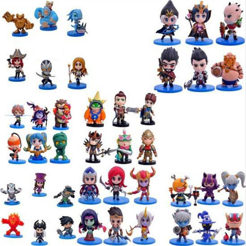 6Pcs/Set Cute Action Figures PVC Ornaments LOL Doll Model Classic Anime Hero Alliance Skin Toys For Children Q Edition Gifts high quality anime lol pvc action figures lee sin the blind monk yasuo master yi figures model toys for boy s birthday gift