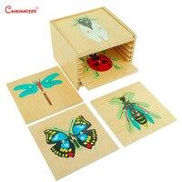 Набор головоломка с животным насекомым, деревянная обучающая игрушечная коробка Монтессори для детей, развивающая игрушка, BO002 S3 для дошкол
